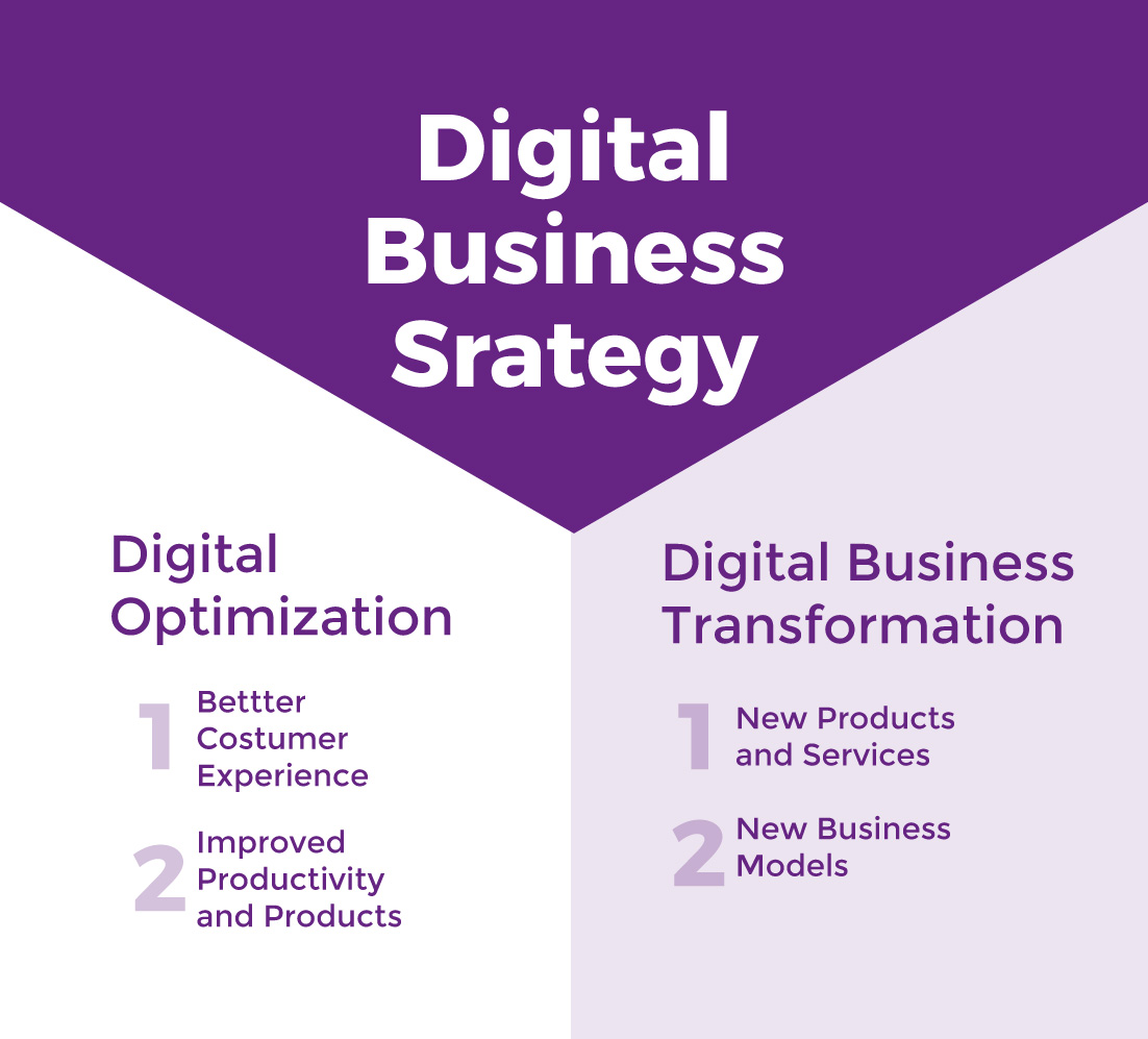 Graph Digital Business Strategy: digital transformation vs digital optimization